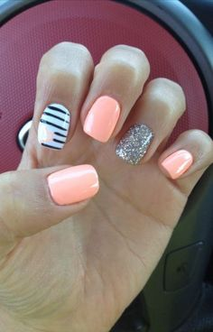 Nageldesign - Nail Art - Nagellack - Nail Polish - Nailart - Nails Summer manicure, different colors Cute Gel Nails, Easy Nails, Love Nails, How To Do Nails, Pretty Nails, Coral Gel Nails, Glitter Nails, Silver Glitter, Orange Nails