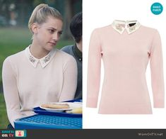 Betty's pink sweater with embellished collar on Riverdale.  Outfit Details: https://wornontv.net/65000/ #Riverdale