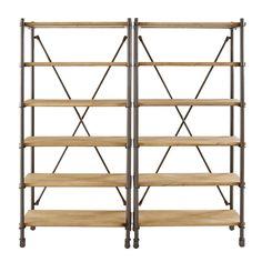 Solid Mango Wood and Black Metal Double Shelf | Maisons du Monde