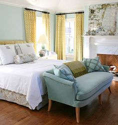 yellow and teal bedroom
