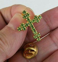 Vtg Budded Bross Peridot Green Rhinestone Gold Tone Tie Tack Pin  #NotSigned
