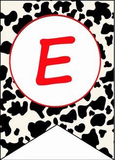 BulutsMom: Çiftlik Hayvanları Temalı doğum Günü Banner Harfleri Cowboy Theme, Western Theme, Cow Spots, Toy Story, Cute Babies, Alphabet, Preschool, Banner, Symbols