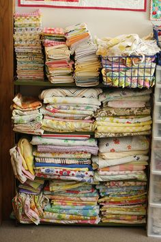 Vintage fabric stash. I dream of having this in my craft room!!!!!