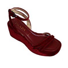 afb06abe62a Spring 1997 PRADA red velvet platform sandals (1stdibs) 1990s Shoes
