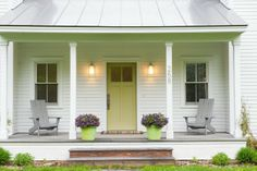 Our house used to have a front porch on it and it was about this size. I LOVE this simple front porch without all the railings and gingerbread crap.