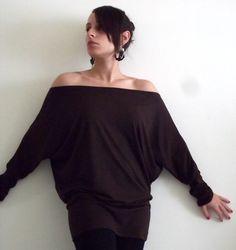 Long sleeve tunic/ Cotton tunic/ Women tunic top/ Brown shirt/ Maternity shirt/ Plus size shirt/ Plus size clothing on Etsy, $49.00