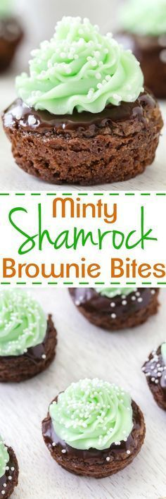 Do you know how to keep your favorite leprechaun out of mischief? Serve these Shamrock Minty Brownie Bites!