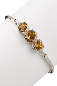 Triple Citrine & Diamond Accented Cable Bangle
