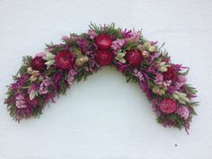 Pink Dried Flower Swag by NaturDesign on Etsy, Dry Flowers, Silk Flowers, Dried Flower Arrangements, How To Preserve Flowers, Wreath Ideas, Flower Art, Floral Wreath, Swag, Romantic