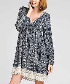 Look what I found on #zulily! Navy Crochet-Accent V-Neck Dress #zulilyfinds