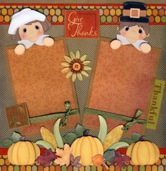 Pre-Made Scrapbook Pages | THANKSGIVING ~ 2 premade scrapbook pages 4 album paper piecing elite4u ...