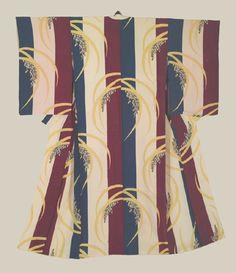 "Taisho kimono - Taisho (1912-1926). A silk kimono featuring an elegant combination of rice and stripe motifs.  46"" from sleeve-end to sleeve-end x 57"" height.  The Kimono Gallery"