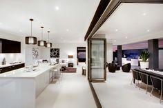 The Freeport Home Design by McDonald Jones - Exclusive to Queensland. #mcdonaldjones #familyroom #kitchen #alfresco #brisbane #queensland