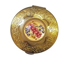KIGU compact with reverse carved lucite centre. Available from Unicorn. Compact, 1950s, Centre, Unicorn, Great Gifts, Carving, Brooch, Jewelry, Jewlery