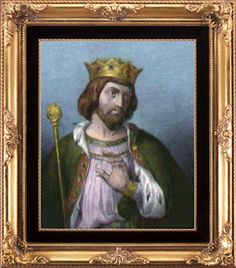 My 18th Great-grandfather (direct ancestor on my maternal and paternal lineages), King Robert II of Scotland, founder of the Stewart Dynasty.  His mother was Princess Marjorie, daughter of Robert the Bruce, and his father was Walter Stewart.
