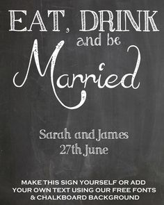 FREE Chalkboard Fonts For Wedding Signs – Printable Wedding Signs