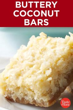 Buttery coconut bars coconut macaroons are sweet and chewy made from coconut flakes sweetened condensed milk almond and vanilla flavor and incredibly easy to make! Mini Desserts, Kokos Desserts, Coconut Desserts, Coconut Bars, Coconut Recipes, Cookie Desserts, Just Desserts, Baking Recipes, Cookie Recipes