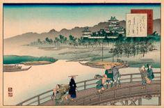 Kita & Yaji admire the view of the castle at Yoshida, the station of the Tokaido, from the Yoshida bridge. A Comics, Japanese Art, Paris Skyline, Castle, Louvre, Watercolor, Travel, Bridge, Paintings