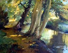 Trevor Chamberlain: By the Mimram, Hertingfordbury - Oils - 70 x 90cm
