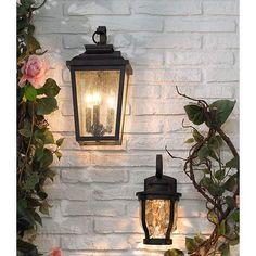 Minka Irvington Manor 16 High Bronze Outdoor Wall Light in scene Led Outdoor Wall Lights, Outdoor Light Fixtures, Outdoor Walls, Exterior Lighting Fixtures, Porch Wall Lights, Outdoor Wall Lantern, Outdoor Spaces, Garage Lighting, Porch Lighting