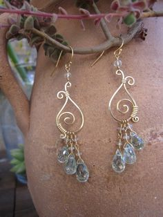 Gold and Aquamarine Wire Earrings