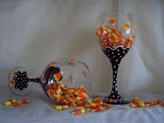 candycorn wine glass (heidimariedesigns) Tags: autumn orange black fall halloween handmade painted handpainted wineglass halloweenparty candycorn entertaining glassware halloweendecoration paintedwineglass