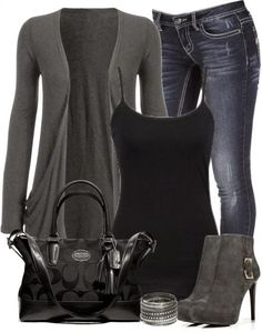 Work Outfit With Skinny Jeans and Grey Cardigan