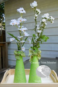 Upcycled Glass Vases with Earth Safe Finishes