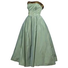 Preowned Doops Vintage 1950s 2 Pc Party Dress Bolero Mink Trimmed Sage... ($425) ❤ liked on Polyvore featuring dresses, green, vintage dresses, green strapless dress, short strapless dresses, vintage cocktail dress and short sleeve dress