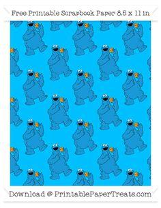 Free Deep Sky Blue Large Cookie Monster Pattern Paper - Sesame Street