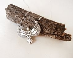 Tribal Eagle Bird Pendant in Sterling Silver with Sterling Silver chain or cord necklace - Tribal Ethnic Design, Original and Distinctive by AlejandraGiannoni on Etsy
