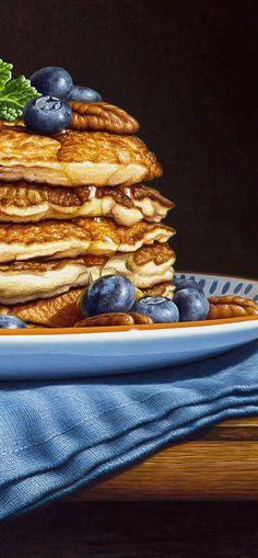New Painting – Pecan & Blueberry Pancakes Pecan Pancakes, Blueberry Pancakes, Watercolor Food, How To Make Pancakes, Realistic Paintings, Good Enough To Eat, Tempera, Food Illustrations, Food Art