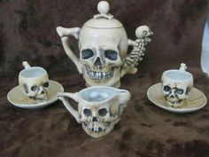 Supposedly Rare Antique Late Skulls Fine Porcelain Teapot Tea Cup Saucer & Creamer - Halloween tea party anyone?