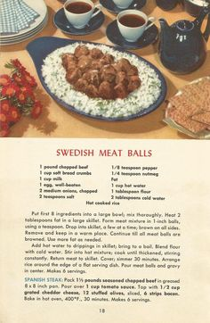 meat recipes, vintage recipes add 1 tbsp dill and extra for gravy Retro Recipes, Old Recipes, Vintage Recipes, Cookbook Recipes, Meat Recipes, Appetizer Recipes, Cooking Recipes, Appetizers, 1950s Recipes
