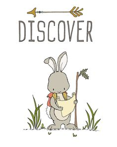 Bunny Discover -- Woodland Nursery Art -- by Sweet Melody Designs