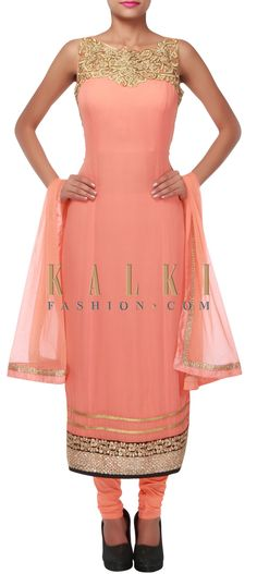 Buy Online from the link below. We ship worldwide (Free Shipping over US$100) http://www.kalkifashion.com/peach-anarkali-suit-adorn-in-zari-and-kundan-embroidery-only-on-kalki.html