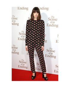 """Stacy Martin wears #PradaSS17 while attending a screening of """"The Sense of an Ending"""" in London."""