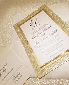 Best Picture For wedding details table For Your Taste You are looking for something, and it is going Gold Glitter Wedding, Glitter Wedding Invitations, Wedding Invitation Suite, Invitation Set, Custom Invitations, Invitation Design, Quinceanera Invitations, Gold Invitations, Digital Invitations