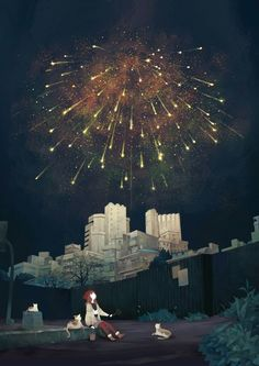 art of animation, anime sceney, illustration, background Manga Art, Anime Art, Image Manga, Anime Scenery, Night Skies, Neko, Fireworks, Amazing Art, Fantasy Art