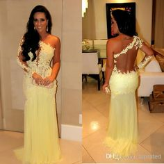 b68ec5a9317 2016 New Arrival Long Sleeve Beads Sheer Back Trumpet Pleats Flower Yellow  lace And Chiffon Connected Prom Dresses Evening Gowns