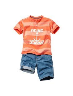 Ensemble garçon T-shirt + bermuda BLEU-CARREAUX VERT+JAUNE-CARREAUX GRIS+RAYE GRIS-DENIM BRUT+RAYE ORANGE-DENIM STONE - vertbaudet enfant