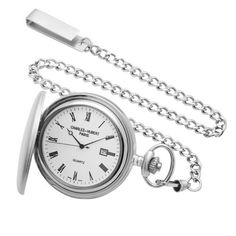 Charles-Hubert, Paris Sterling Silver Quartz Pocket Watch Charles-Hubert, Paris. $467.80. Solid sterling silver 48mm hunter case with a matching sterling silver curb chain. White dial with date display. Deluxe gift box. Swiss parts quartz movement. Save 53% Off!