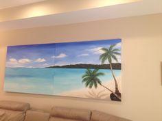 "Canvas Acrylic Painting 10' x 4' ""Paradise in Honduras"" $900"