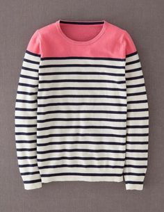 @BodenClothing Cashmere Crew Neck Sweater Ivory/Pop Pink/Navy