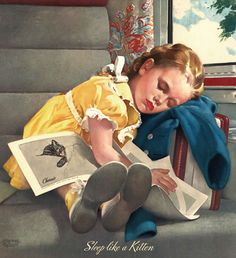 """""""Sleep Like A Kitten"""" ~ illustration by Jerome Rozen, 1953."""
