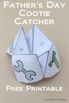 "A free printable Father's Day cootie catcher for your kids.  A great way to show dad how much you love him with fortunes like ""hug your dad""!"