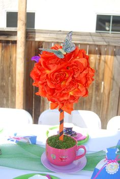 One of many centerpieces I made for my daughter Alice in Wonderland tea party.