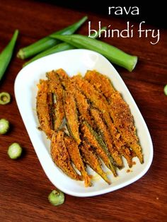 bhindi rava fry recipe, cripsy okra rava fry, ladies finger fry with step by step photo/video. fried okras/ladies finger, coated with rava/semolina & spices Methi Recipes, Okra Recipes, Curry Recipes, Vegetarian Recipes, Snack Recipes, Cooking Recipes, Rice Recipes, Breakfast Recipes, Chicken Recipes