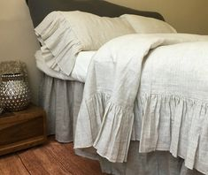 Hey, I found this really awesome Etsy listing at https://www.etsy.com/listing/276867610/shabby-chic-linen-ruffled-duvet-cover