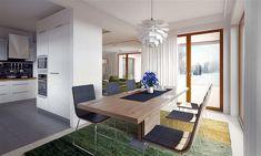 Projekt domu Arte 136,91 m2 - koszt budowy - EXTRADOM Modern Small House Design, Modern Interior Design, Home Fashion, Bungalow, House Plans, Dining Table, Living Room, House Styles, Furniture